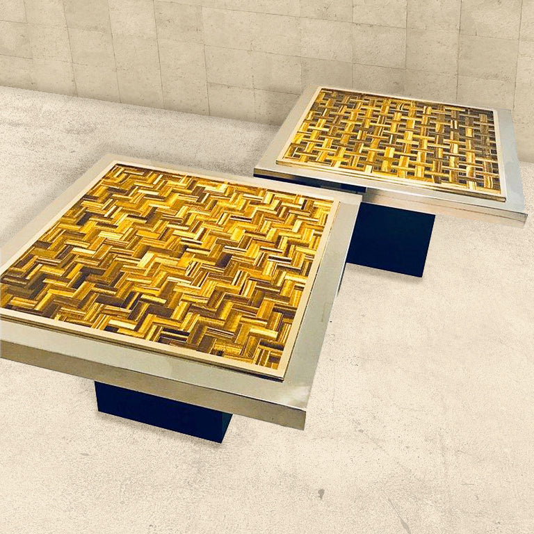Tigers Eye Gemstone Side Tables