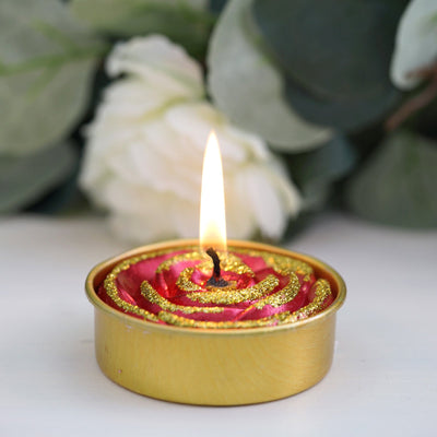 Tea Light Candles, Dripless Candles, Glitter Candles, Metallic Candles, Home Decor Candles#color_red-gold