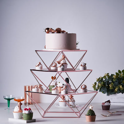 Cake Stand, Metal Display Stands, Geometric Cake Stand, Tiered Cake Stand, Metal Cake Stand#color_rose-gold