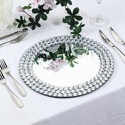 Charger Plates, Glass Charger Plates, Mirror Charger Plates, silver charger plates, beaded charger plates#color_parent