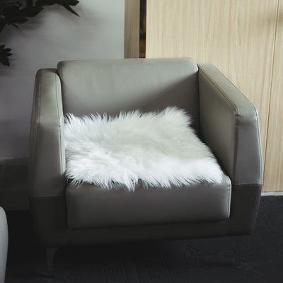 Faux Sheepskin Throw, Faux Sheepskin Seat Covers, White Faux Sheepskin Rug, Faux Fur Chair Cushion, Chair Seat Cushions#color_white