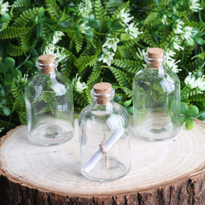 clear bottles, small bottles, party favor jars, glass favor jars, diy mini bottle crafts#color_parent