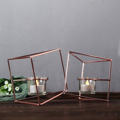 Geometric Candle Holder, Candle Holder Centerpiece, Metal And Glass Candle Holder, Geometric Succulent Terrarium, Geometric Tealight Holder#color_parent