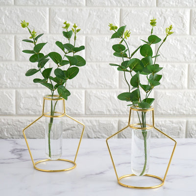 Metal Flower Stand, Test Tube Vase, Geometric Vase, Wire Vase, Metal Flower Vase#color_gold