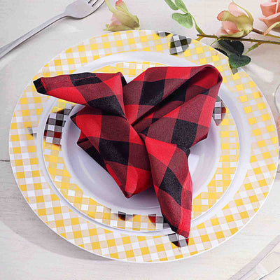 cloth table napkins, polyester napkins, checkered napkins, gingham napkins, buffalo plaid napkins#color_parent