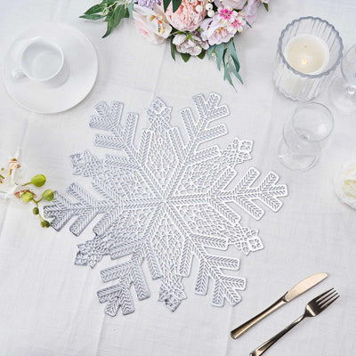 Table Placemats, Vinyl Placemats, Snowflake Placemats, Non Slip Placemats, Dining Table Placemats#color_silver