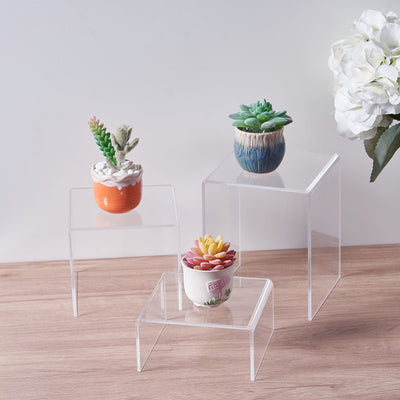 acrylic shelf riser, acrylic riser stand, acrylic display risers, plastic risers, acrylic display stands#size_set-of-4