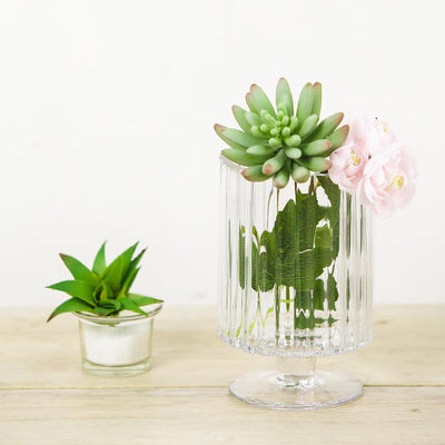Ribbed Glass Vase, Glass Pedestal Vase, Clear Flower Vase, Centerepiece Vases, Decorative Glass Vase#color_parent