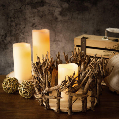 Wood Pillar Candle Holders, Wooden Candle Holders, Rustic Wood Candle Holders, Decorative Candle Holder, Wood Votive Candle Holders#color_natural