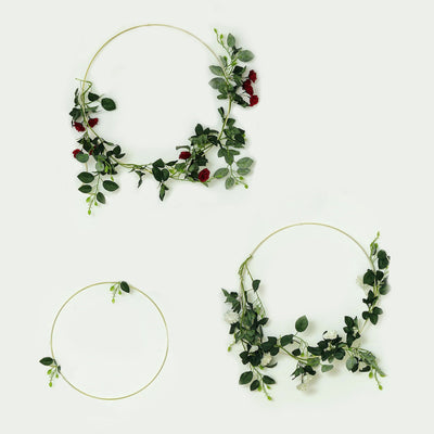 Hoop Wreath, Floral Hoop, Metal Hoop, Modern Wreath, Embroidery Hoop#size_parent