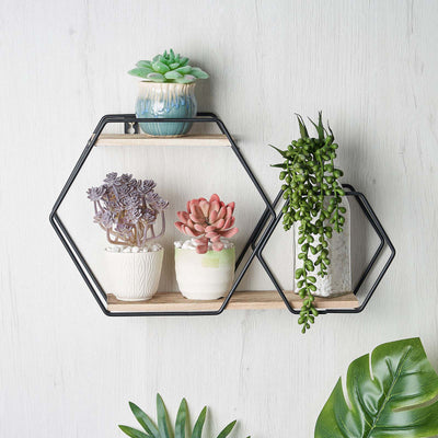 decorative wall shelves, geometric wall shelf, hexagon floating shelves, geometric shelves, geometric floating shelves#color_black