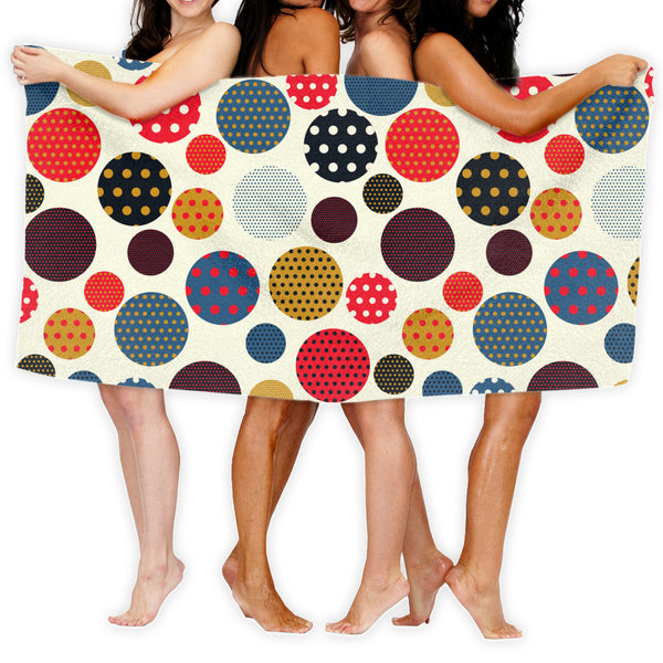 Dots Circles Bathroom Towels (51 x 31.5 inches)