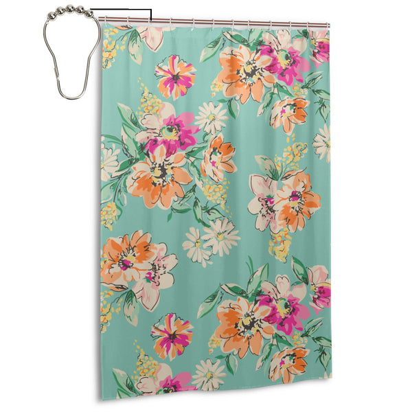 Colorful Flowers Painting Fabric Shower Curtain, Long 48 x 72 Inch Size with Ring Hook Holes