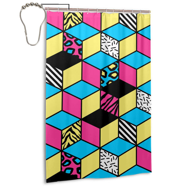 Pop Art Pattern 4 Fabric Shower Curtain, Long 48 x 72 Inch Size with Ring Hook Holes