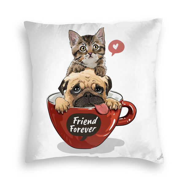 Cat Dog Friend Square Throw Pillow Covers Cushion Case for Sofa Bedroom Car