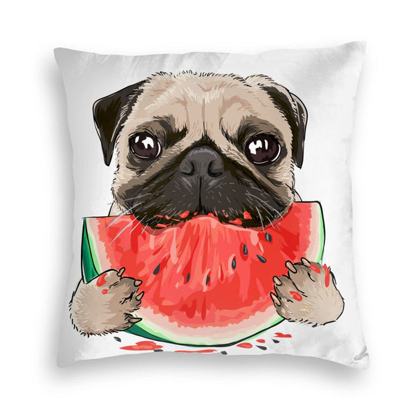 Dog Watermelon Square Throw Pillow Covers Cushion Case for Sofa Bedroom Car