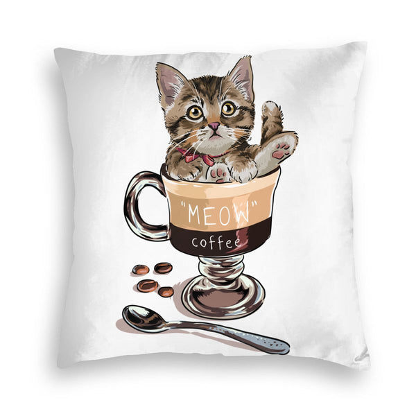 Meow Coffee Square Throw Pillow Covers Cushion Case for Sofa Bedroom Car