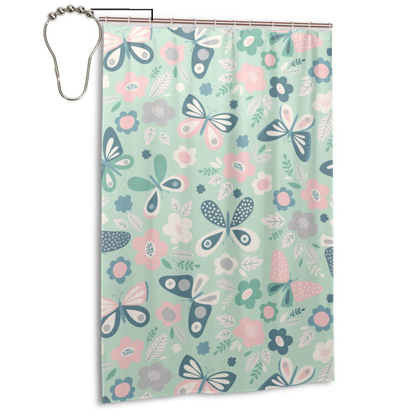 Butterfly Flowers Pattern Fabric Shower Curtain, Long 48 x 72 Inch Size with Ring Hook Holes