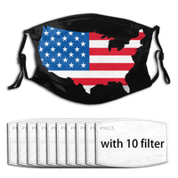 American Flag Map face mask & covers with filters