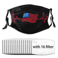 US Flag Heart face mask & covers with filters