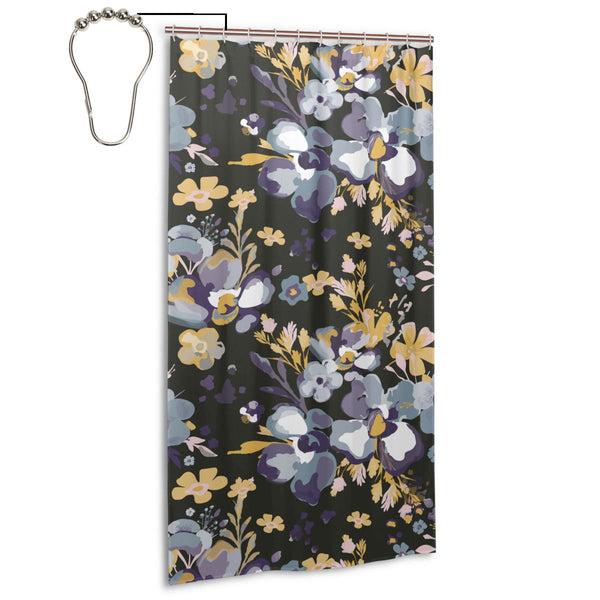 Purple Flower Fabric Shower Curtain, Long 36 x 72 Inch Size with Ring Hook Holes