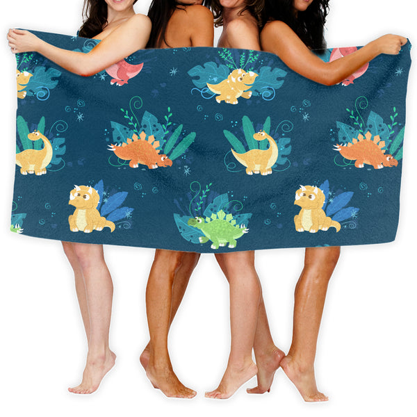 Cute Dinosaur Pattern Bathroom Towels (51 x 31.5 inches)