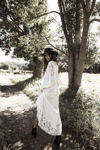 Bohemian Holiday Lace Stitching Cover-up Long Dress
