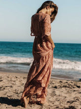 Load image into Gallery viewer, Boho Summer Pink lace loose elastic waist Mid-sleeve swing beach holiday Maxi Dress