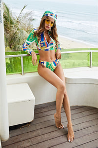 Conservative Printed Bikini Women's Split Long Sleeve Swimsuit 3-piece Tankini Set 34