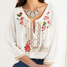 Load image into Gallery viewer, Embroidered Bohemian Floral Casual V-Neckline Sleeves Peasant Blouses Tops