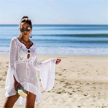 Load image into Gallery viewer, Flared Sleeves Hollow Crochet Swimwear Cover-ups Mini Dress