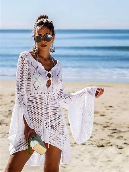 Flared Sleeves Hollow Crochet Swimwear Cover-ups Mini Dress