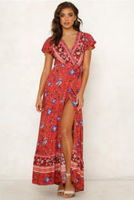 Load image into Gallery viewer, Bohemia V-neck Printed Beach Maxi Split Dresses