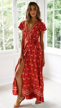 Load image into Gallery viewer, Bohemia Sexy V-neck Printed Beach Maxi Split Dresses