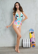 Load image into Gallery viewer, New Contrast Color Geometric Print One-piece Swimsuit