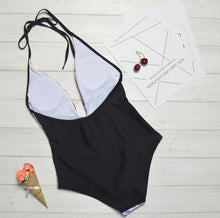 Load image into Gallery viewer, New Printed Color-blocking Geometric One-piece Swimsuit