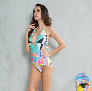New Contrast Color Geometric Print One-piece Swimsuit