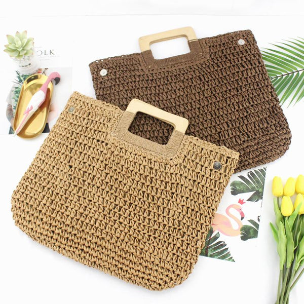 Ins Straw Woven Bag Wooden Rope Woven Bag Retro Leisure Beach Bag Handmade Bag