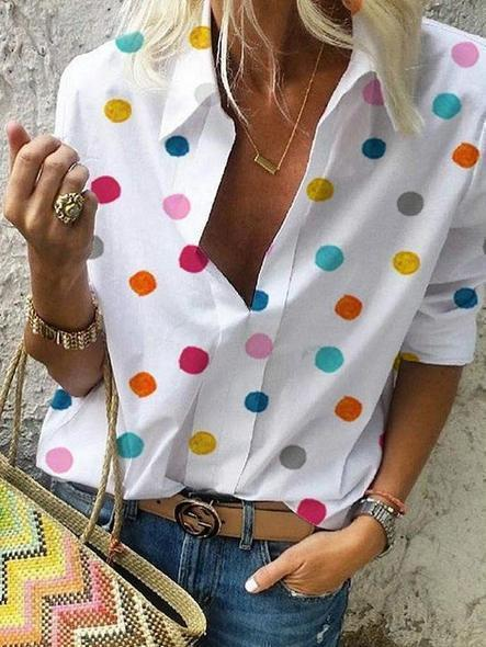 Summer Printed Breathable Dot Pullover Shirt