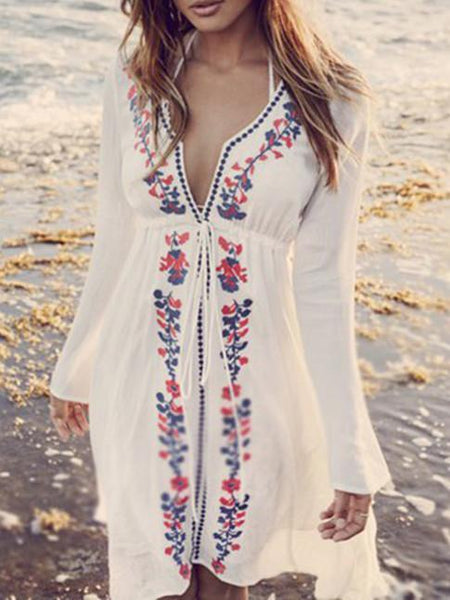 Elegant V-neck Print Bohemia Mini Beach Dress