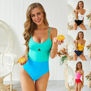 Solid Color Stitching One-piece Swimsuit
