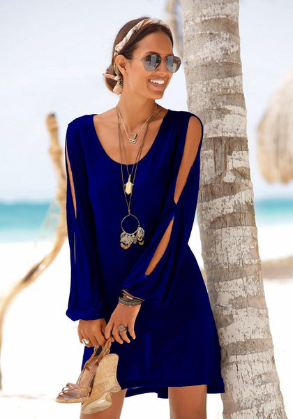 Casual Short Black Dress Swing Long Sleeve Slit  Beach Mini Dress-4