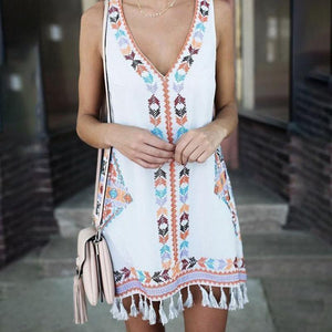 Loose A-word Skirt Tassel Folk Print Dress