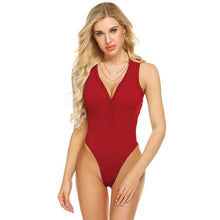 Load image into Gallery viewer, Solid Color Spring Jumpsuit Women's One Piece Swimwear Solid-color V-neck Vest Jumpsuit Women