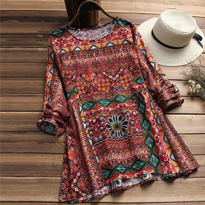 Cotton and Hemp Printing Loose Size Long-sleeved Shirt