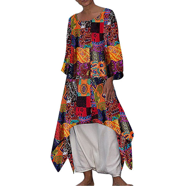 New Bohemian Style Feature Skirt Cotton and Linen Printed Long-Sleeved Dress