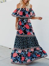 Load image into Gallery viewer, Floral Off Shoulder Beach Maxi Dress