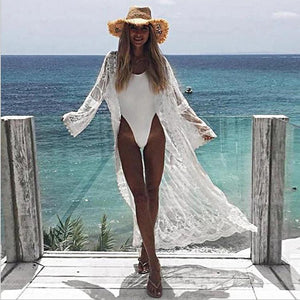 New Mesh Embroidered Lace Beach Bikini Cover up