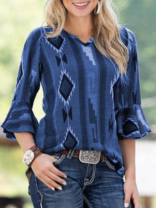 Spring New Blend Casual Middle Sleeve  Printed Shirt T-Shirt