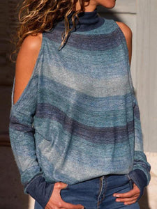 Loose High Neck Knitted Blue Winter Pullover Sweater